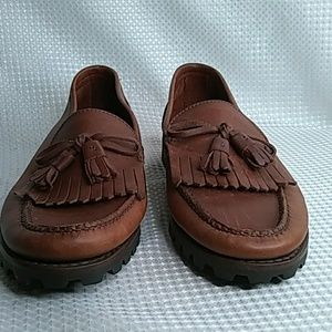 Cole Haan Brown leather loafers with tassels